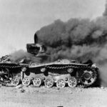Panzer III Tank Burning in Egyptian Desert