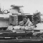 German Panzerman in turret of Panzer III – winter camo