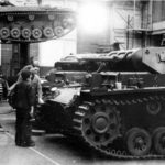 Panzer III tanks on assembly line in German factory