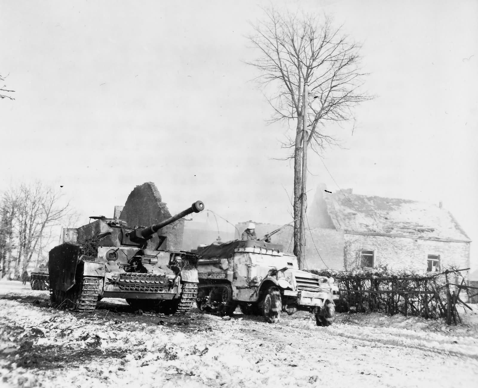 35th Infantry Division Halftrack and Panzer IV Foy Belgium Bulge 1945