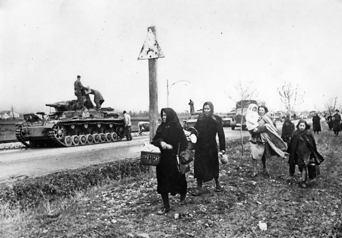 German Panzer IV Tank And Refugees - Invasion Of Yugoslavia