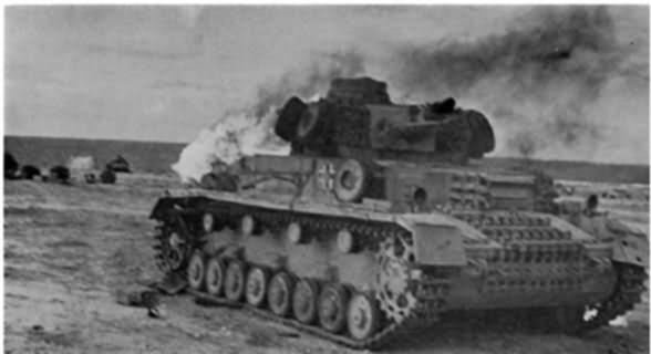 burning Panzer IV tank 10