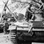 Crew of a Wehrmacht repair unit working on a Panzer III