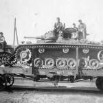 Panzer III on railroad flat car Ostfront