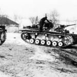 Panzer III tanks in the snow during operations in the winter of 1941 42