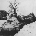 Panzer III tanks of the 5th Panzer Division n their way to the front