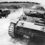 Russian Truck GAZ-AA Passing German Panzer III Ausf J