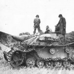 28th Division Troops with Knocked Out German StuG III Ausf G