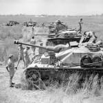 Sturmgeschutz IV and Stug III Ausf G assault guns, two Marder III Ausf H and Italian Semovente 75/18. Italy June 1944