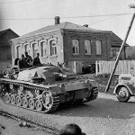 StuG III Ausf B Passing on Street Russia