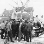 Wehrmacht troops in russian winter and StuG III assault gun