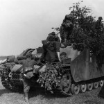 Camouflaged Sturmhaubitze StuH 42 II with zimmerit