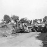 Allied DUKW by Knocked Out German Tiger Tank from 504 schwere Panzer Abteilung in Ponte Dirillo Sicily 1943