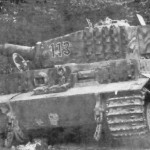 Destroyed German Tiger 509 number 113 (Zimmerit and steel road wheels)