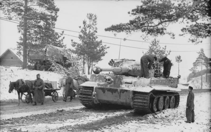 Tiger I of the schwere Panzer Abteilung 502. Tank number 222 winter camouflage eastern front