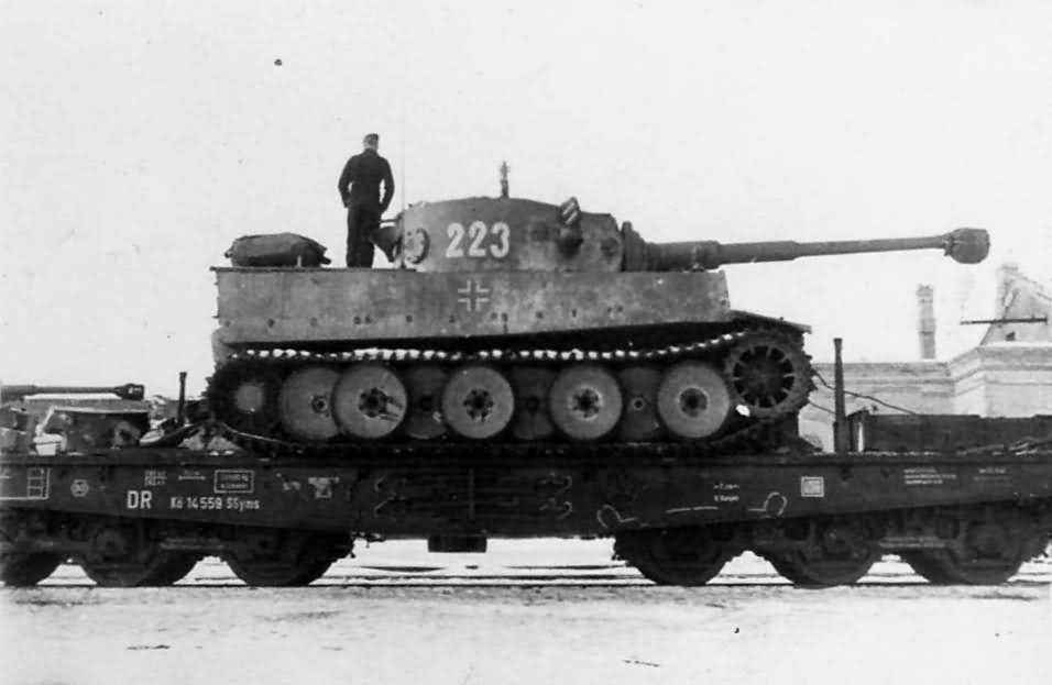 Early Tiger I of the Schwere Panzer Abteilung 503, tank number 223. Rail transport