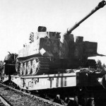 Tiger tank of schwere panzerabteilung 503 on SSyms flatcar. Braine France 1944