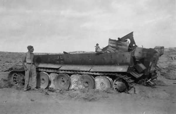 Destroyed Tiger I number 121 of Schwere Panzer Abteilung 501 Afrika Korps DAK Tunisia