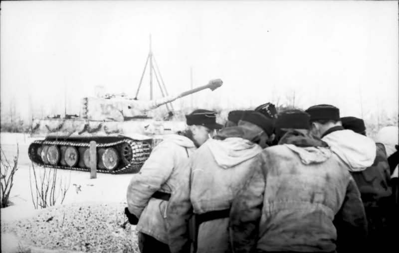 Tiger I number 134 of Schwere Panzer Abteilung 501 winter camo eastern front