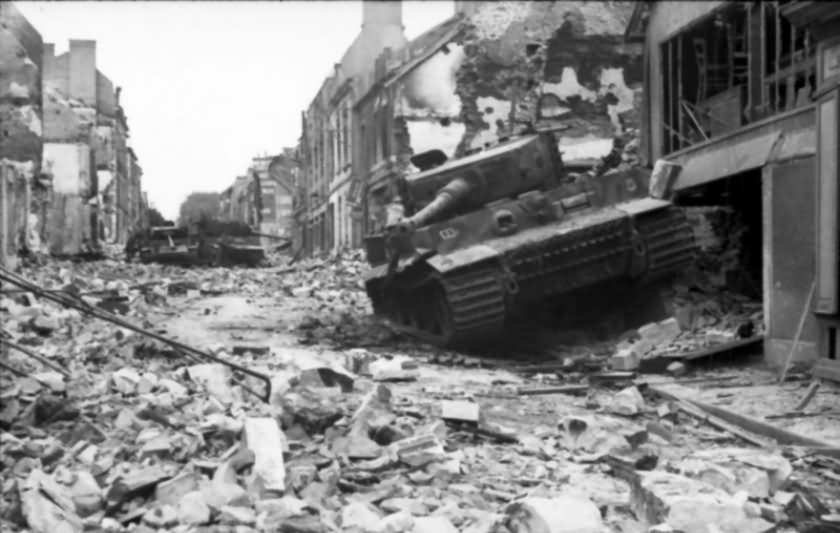 Villers Bocage destroyed Tiger Ausf E of schwere SS-Panzer-Abteilung 101, tank number 111 – Normandy 1944