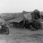 Afrika korps motorcycle and tent
