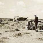 German afrika korps troops by tent in desert