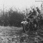 Waffen-SS soldiers riding a BMW R12 with side car