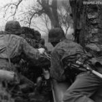 Soldiers of Waffen SS in action with flammenwerfer 35 1942 2