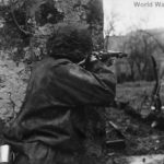 Waffen SS soldier firing 98k Mauser on Eastern Front