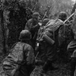 Waffen-SS soldiers advancing on enemy on Eastern Front