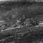 German soldiers of the 6th SS Mountain Division Nord in position