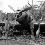 1st Marine Division encounters wrecked Japanese D3A2 1944