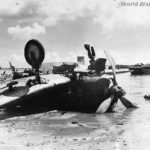 Wreckage of Japanese Type 99 Aichi D3A Val on Beach of Guam