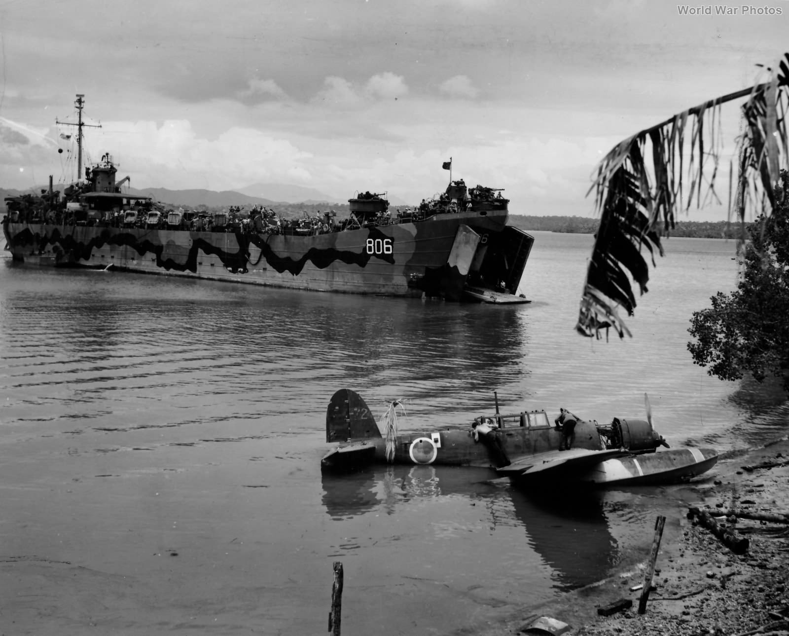 E13A and USS LST-806 Palawan, Philippines 1945