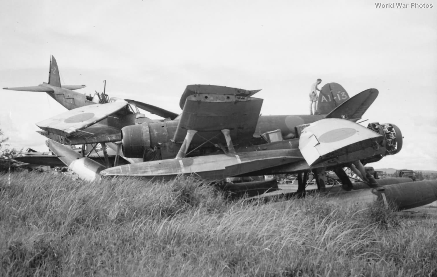 Aichi E13A floatplanes at Seletar airfield 1945