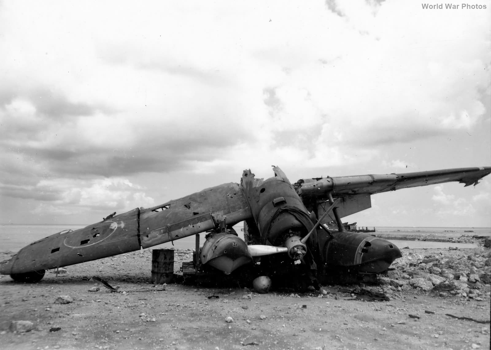 Wreckof E13A Jake on Saipan July 1944