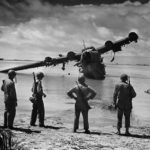 US soldiers inspect wrecked H8K Emily on Makin 1944