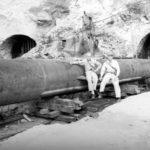 Kairyu Type submarine outside its cave hideaway in a Japanese coastal hillside Sept 1945