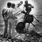 Seabees raise midget submarine Type A Kai scuttled off Guadalcanal 1944