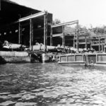 Type D midget submarines in an assembly shed at the Mitsubishi shipyard Nagasaki 1945