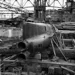 Type D submarine on the ways at the Yokosuka Naval Base September 1945
