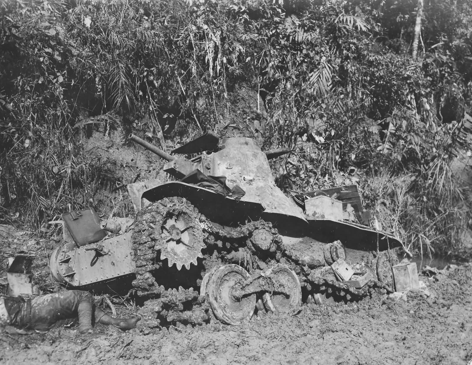 Destroyed Japanese Type 95 Ha Go light tank Ormoc Leyte