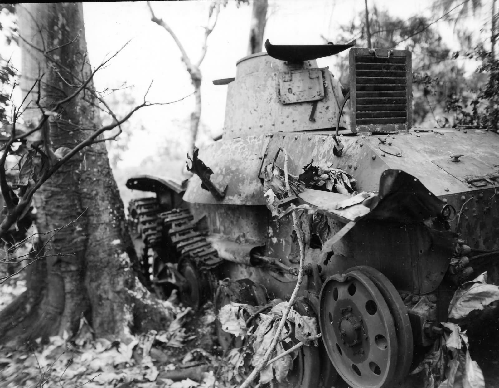 Ha Go tank detracked wreck july 1944 Saipan