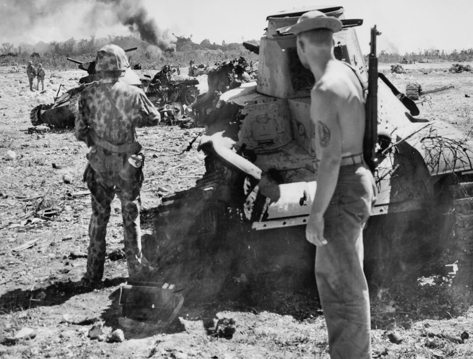 Japanese 14th Infantry Division Type 95 Ha Go Light Tanks Peleliu airfield 1944