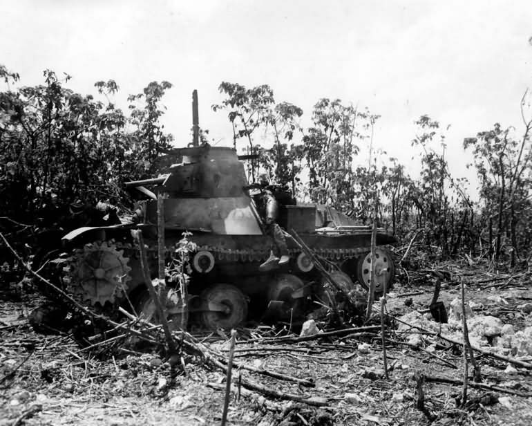Japanese 14th Infantry Division Type 95 Ha Go light tank on Peleliu 1944