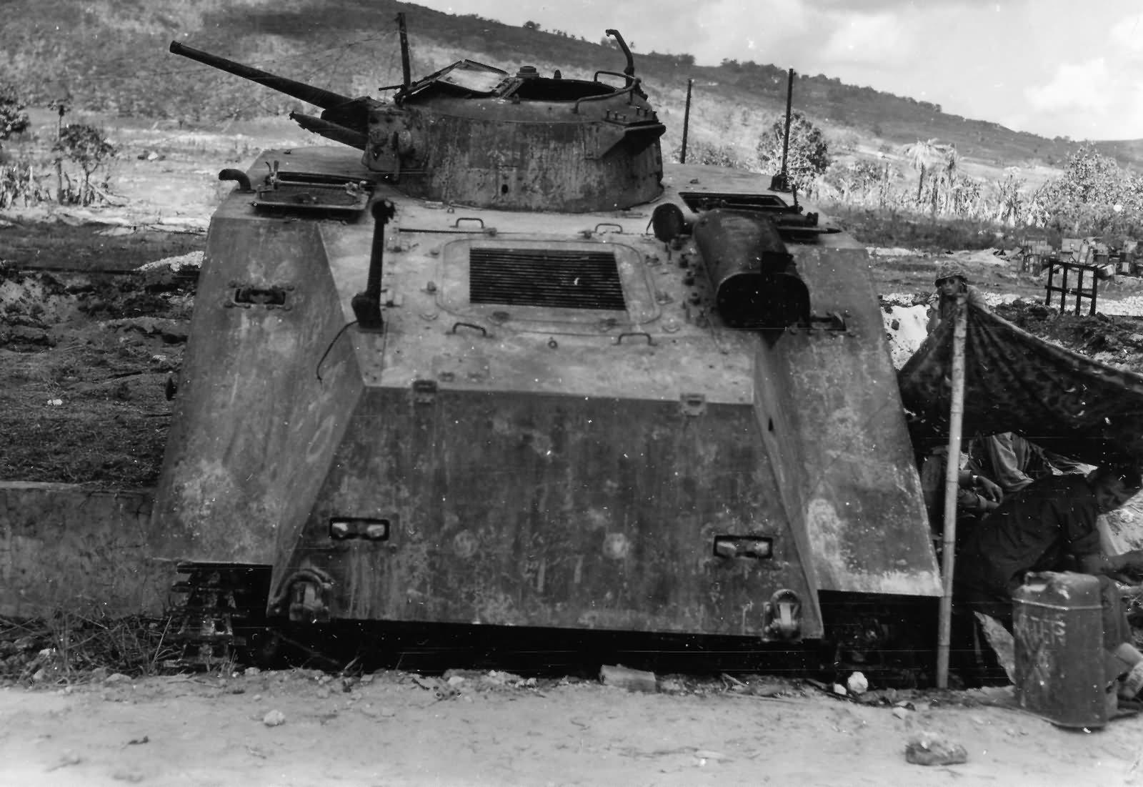 Japanese 1st Yokosuka SNLF Type 2 Ka Mi Amphibious Tank Rear View Saipan