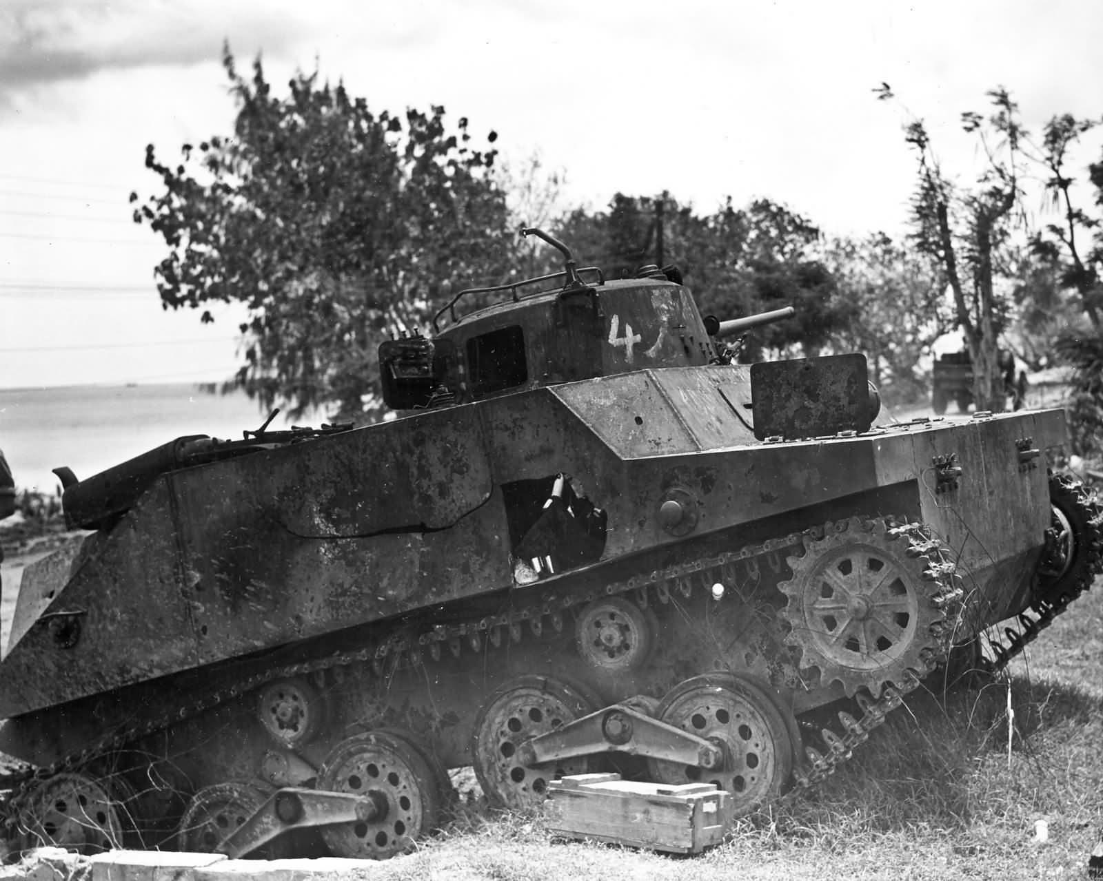 Japanese 1st Yokosuka SNLF Type 2 Ka Mi Amphibious tank side hull hit Saipan