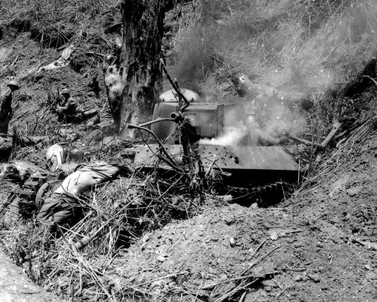 Japanese 2nd Tank Division Type 95 Ha Go tank destroyed by 37th ID Bone Luzon 1945
