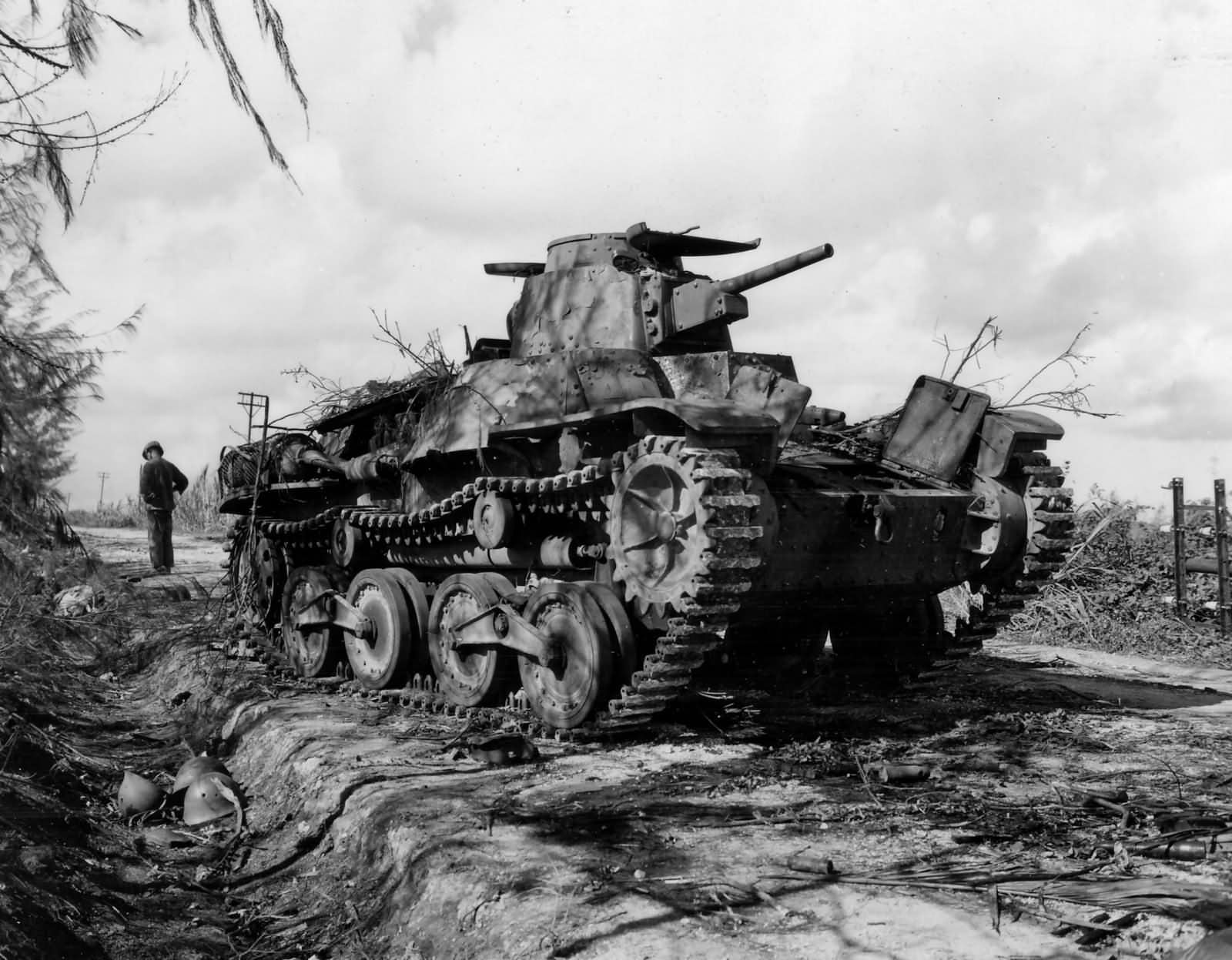 Japanese 9th Tank Regiment Type 95 Ha-Go destroyed on Tinian Island 1944