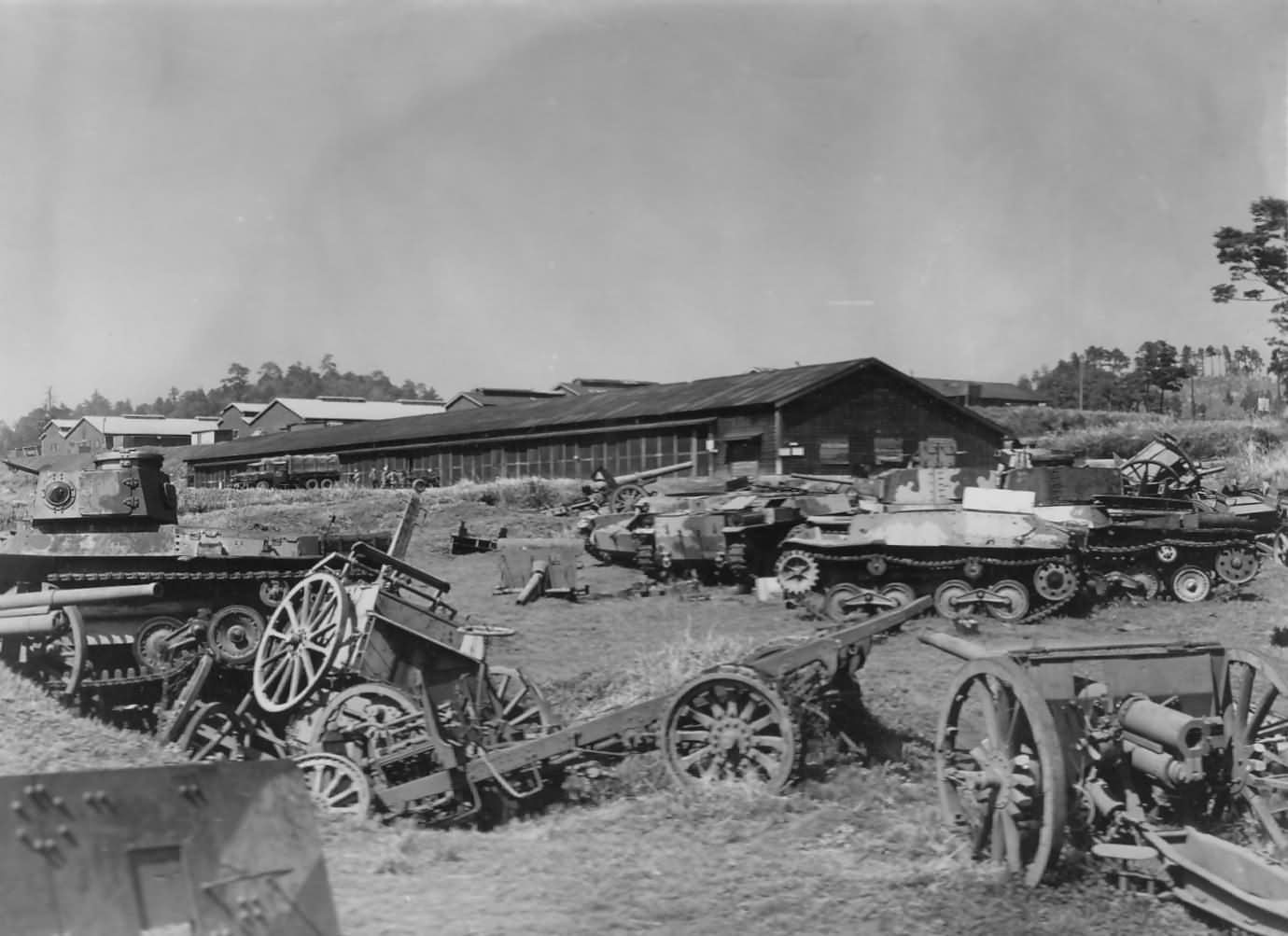 Japanese Type 95 Ha-Go Tanks Wrecks and Artillery in Japan 1945